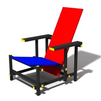 Rietveld stuhl zeichnung  Gerrit Rietveld rot blau Stuhl | online kaufen bei classicfactory24.com